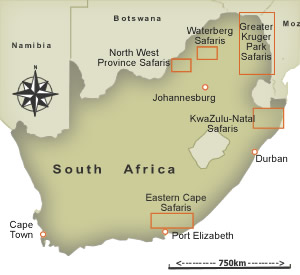 Map of South African Game Reserves
